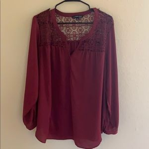 Red blouse long or mid sleeve